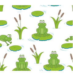 seamless pattern with reeds and toads vector image