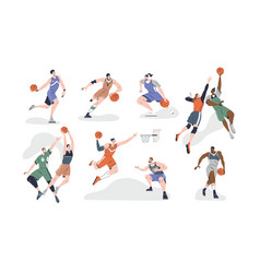 set male and female basketball players playing vector image