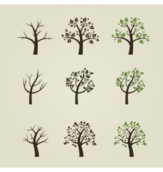set of different trees silhouette with roots vector image