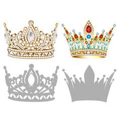 set of golden crown tiara diadem and vector image
