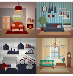Set of Home Interiors in Different Styles vector image