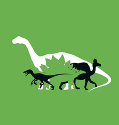silhouette of dinosaurs the jurassic period vector image