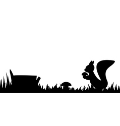 Silhouette of the squirrel in the grass vector