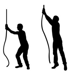 Silhouettes of men pulling ropes vector