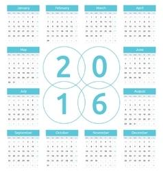 Simple european 2016 year calendar vector image