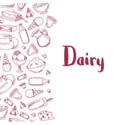 Sketched dairy products vector