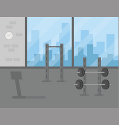sport gym interior workout equipment vector image