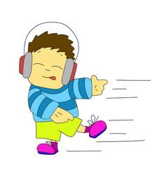 Stock dancing boy in headphones vector