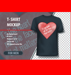T-shirt mock-up template with heart and vector