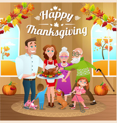 Thanksgiving day with happy family and turkey vector