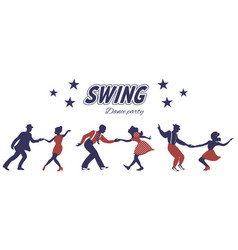 Three swing dance couples silhouettes vector