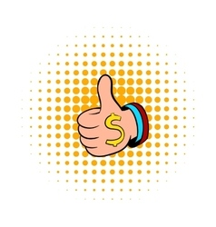 Thumbs up sign and dollar sign icon comics style vector image vector image