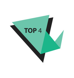 Top4 text in label black green vector