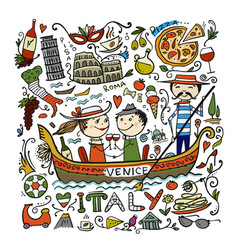 travel to italy greeting card for your design vector image