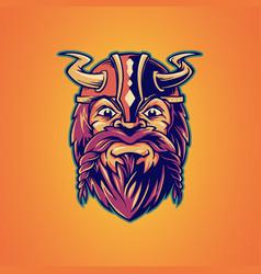 viking mascot logo design icon vector image