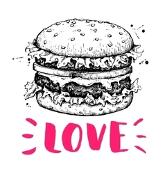 vintage burger label hand drawn monochrome vector image