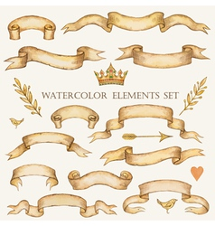 Watercolor set of ribbons vector image