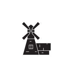 windmill house black concept icon windmill vector image