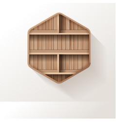 wooden shelves mock up empty shelf design on wall vector image