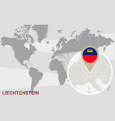World map with magnified liechtenstein vector