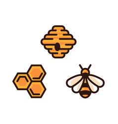 yellow bee icon bee hive and honeycomb vector image