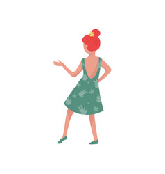 young girl in dancing action red-haired woman in vector image