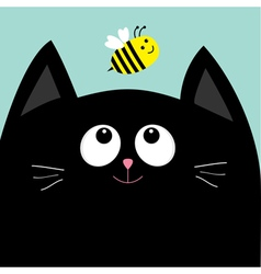 Black cat head looking at honey bee insect Cute vector image