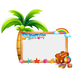 border template with summer theme vector image vector image