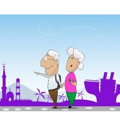 Elderly couple travel in cruise together vector image vector image