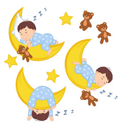 set of isolated boy on moon vector image vector image