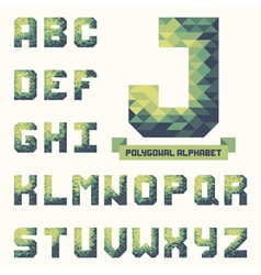 Trendy polygonal triangular alphabet vector image