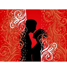 Boy and girl on colour background vector image