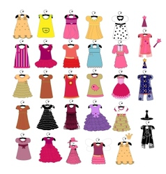 fashionable beautiful clothes for little girls vector image vector image
