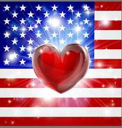 love america flag heart background vector image