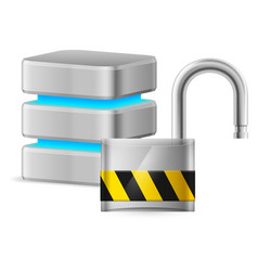 open padlock - computer security concept on vector image