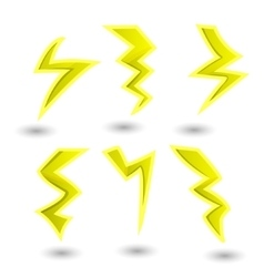 powerful lightning bolts set vector image