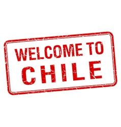 welcome to Chile red grunge square stamp vector image