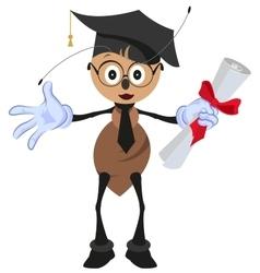 Ant holding diploma graduation vector image