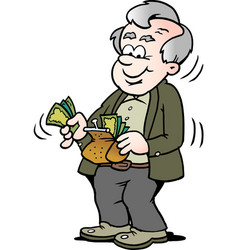 cartoon of a happy old man taking money out of vector image