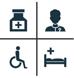 drug icons set collection of polyclinic vector image