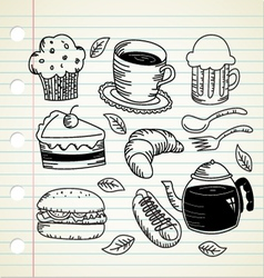 food and drink doodle vector image vector image