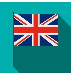 Great Britain flag with flagpole icon flat style vector image