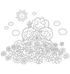 lodge and daisies vector image vector image