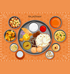 traditional rajasthani cuisine and food meal thali vector image vector image