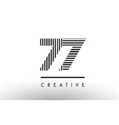 77 black and white lines number logo design vector