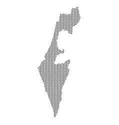 Abstract israel country silhouette of wavy black vector