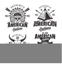 american indians set four vintage emblems vector image