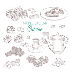 Arabic food middle eastern sweets and tea vector