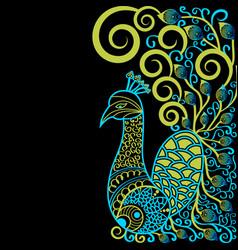 Artistic mandala peacock animal design vector