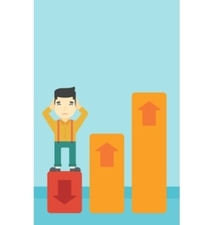 Bankrupt standing on chart going down vector image